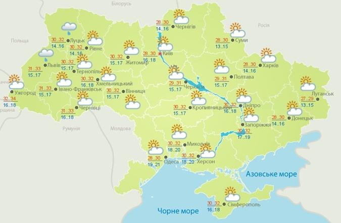 Новая рабочая неделя в Украине начнется с жары [карта]