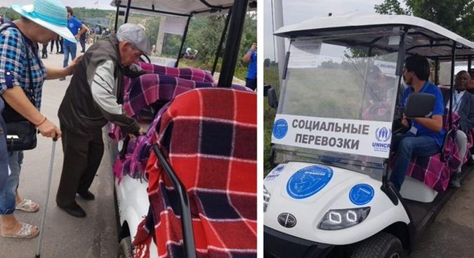"""От КПВВ """"Станица Луганская"""" начал курсировать электромобиль [фото, видео]"""