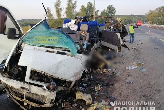 Смертельная авария на трассе Киев-Харьков:  столкнулись два автобуса  [фото]